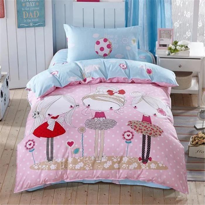 parure de lit parure de couette trois petites filles 100 coton 1 housse de couette 140x200cm. Black Bedroom Furniture Sets. Home Design Ideas