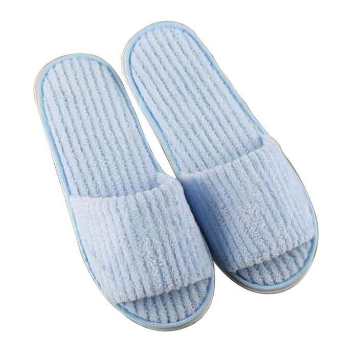 [Bleu] 10 paires de velours corail à usage unique Pantoufles chaussons Toe vPLx2Hf