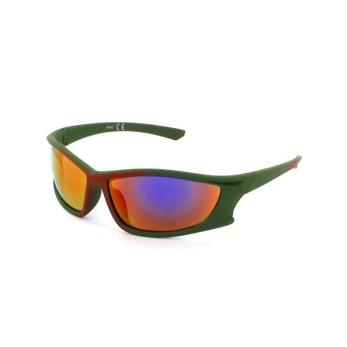 Lunette haute protection sport-400C Kaki milieu marron, verre miroir violet
