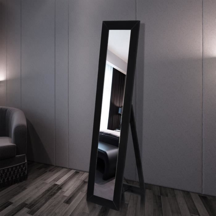 Miroir autoportant en pied Noir design élégant pour chambre ...