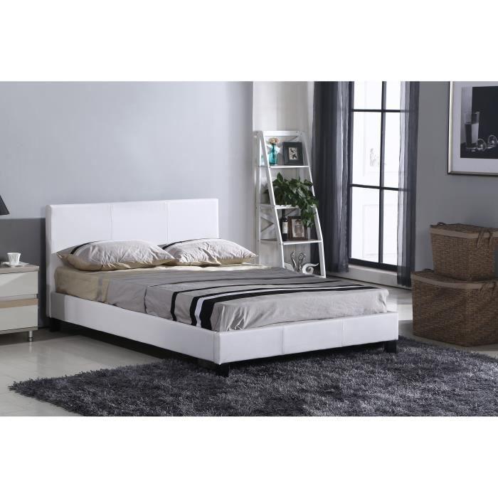 lit blanc 140x190 achat vente lit blanc 140x190 pas. Black Bedroom Furniture Sets. Home Design Ideas
