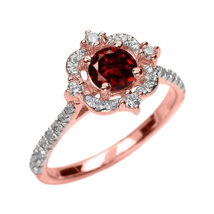 Bague Femme 10 Ct Or Rose Véritable Grenat Et Diamant