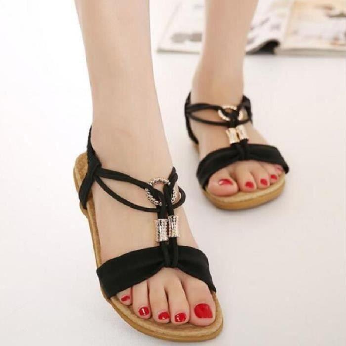 SHELOVEIT® Sandales Chaussures Femme Ete Noir Fr4OSySQJ