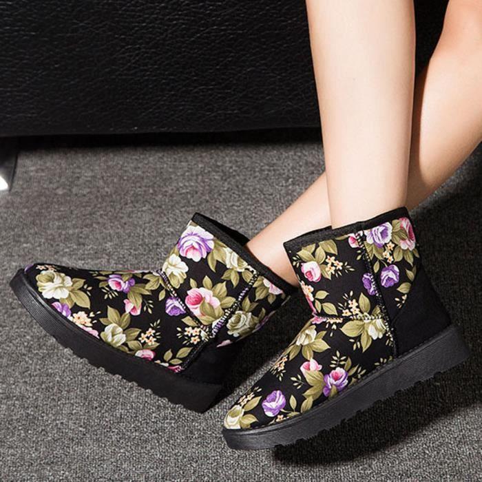 Les femmes chaussures imprimées de la cheville bottes en fourrure recouvertes d'automne hiver bottes neige chaude p4PbSH