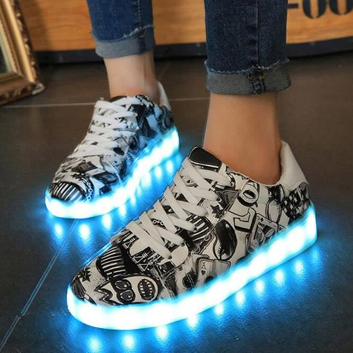 Wotumeo 2017 Automne Graffiti USB de Charge Mode LED Chaussures Unisexe Lumineux Light Up Sneakers 2tlFbXNX5