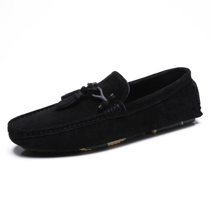 chaussures plates Super Mode Chaussure pour Femme Confortable Moccasins femmes Antidérapant Chaussure à semell dssx328noir44