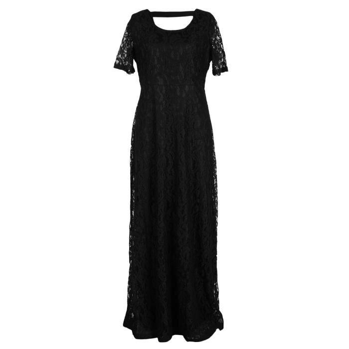 o robe en dentelle de femmes cou à manches courtes couleur unie, plus la taille maxi robe longue