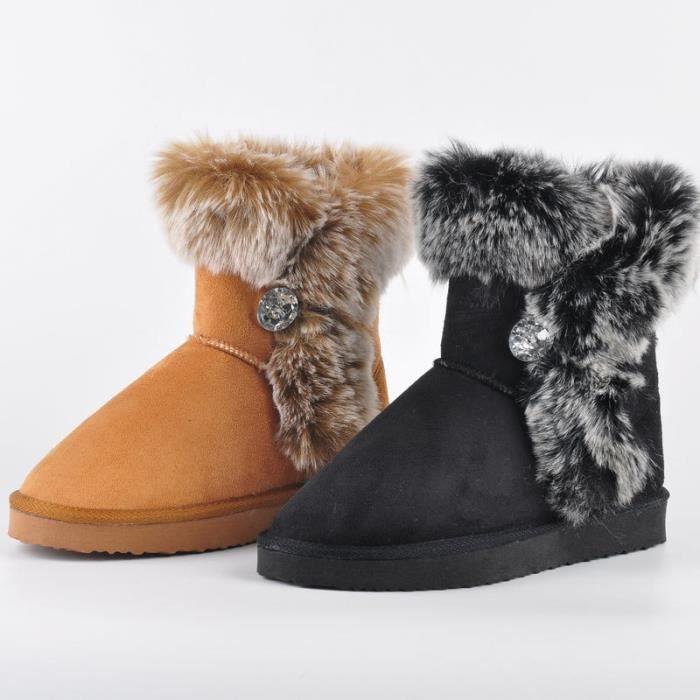 femmes véritable neige chaud Taille cheville cuir peluche Bottes fourrure femmes Chaussures Thickend en Bottes en Hiver moutons SUBxx