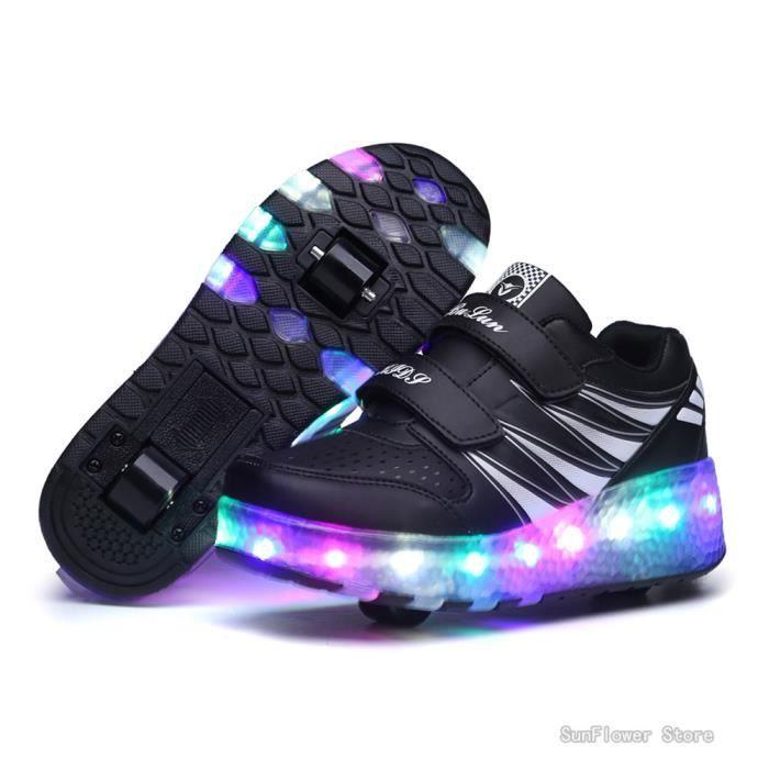 Mode Enfants Chaussures Heelys Deux roulettes pour garçons et filles avec roues Skateshoes Noir