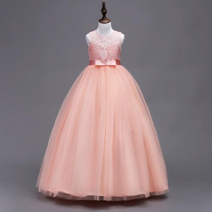 e6aa6e06e0b7a Robes Fille Enfant Robe de Princesse en Dentelle Décorée Ruban de ...