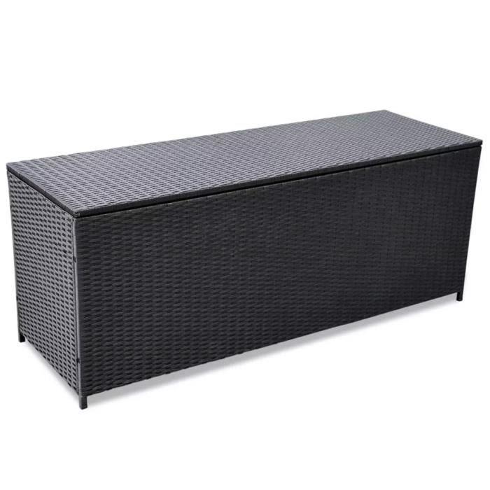 Banc De Rangement Boîte De Rangement D Extérieur Résine Tressée Noir 150x50x60 Cm