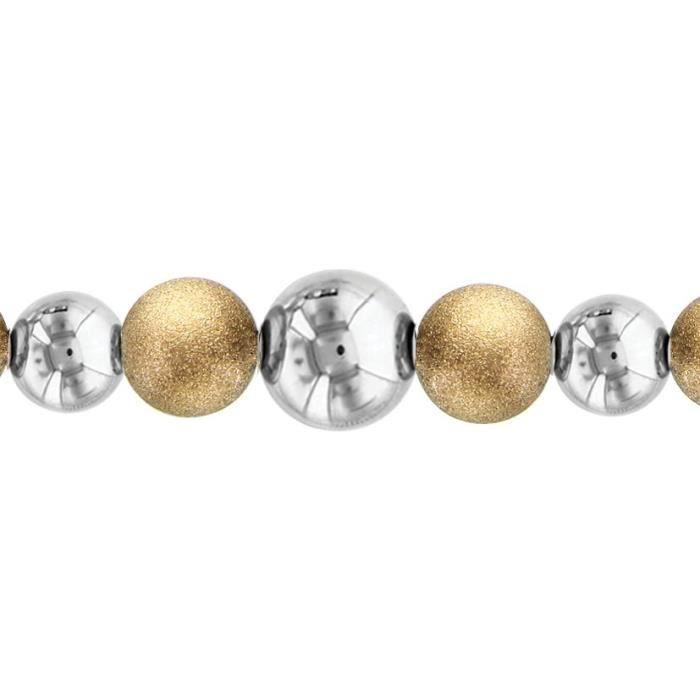Bracelet 16+4cm Granit & Lisse Bicolore Acier