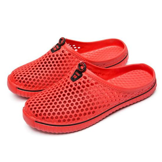 Tongs évider Hommes Plage Sandales Chaussures Unisexe Casual Couple Rouge 8OPn0wkX