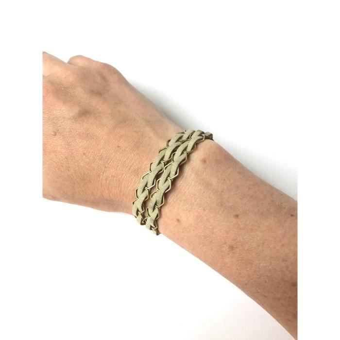 Femmes Huile Essentielle Diffusing Hexagone Double Wrap Bracelet Ou Choker- Fw Oat Beige OAG08