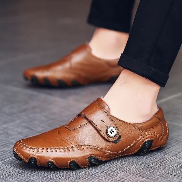 Casual Hommes d'hiver Mocassins chaud en peluche mocassins en cuir Chaussures plates Slip-On Fur Lined Driving Chaussures