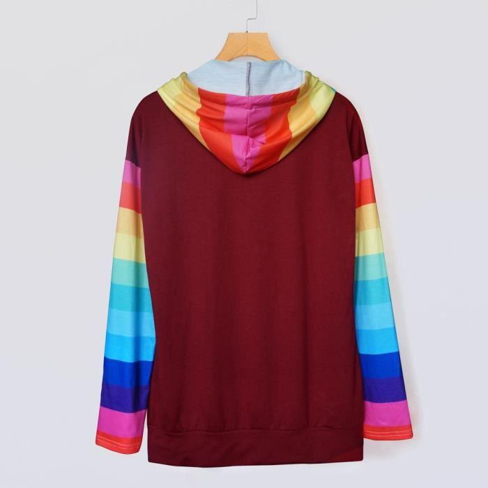 Longues Sweat À Femmes Hauts Color Manches De Stripe App10055 Capuche Casual Block Chemisier FYqESU