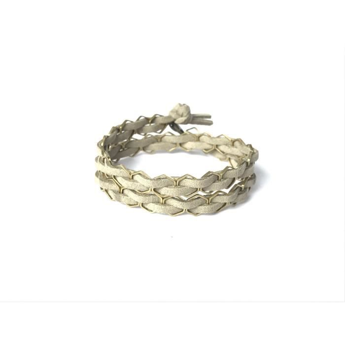 Femmes Huile Essentielle Diffusing Hexagone Double Wrap Bracelet Ou Choker- Fw Oat Beige OAG08 Ngtf5eLtEk