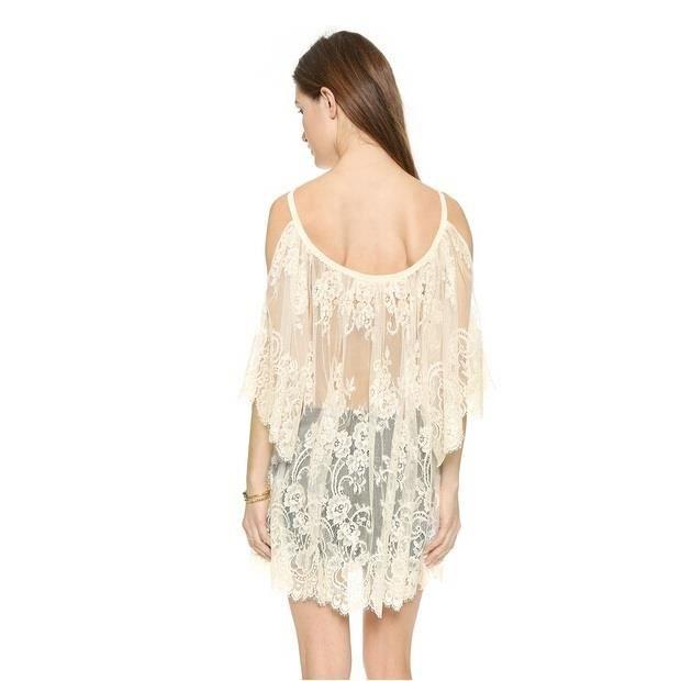 Femme shirt Sangle de protection solaire plage bretelles chemisier Lacet robe sexy Transparent Blouse Blanc