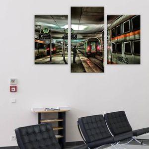 TABLEAU - TOILE Paris Train Station Split 3 Panels IMPRIMER Sur CA