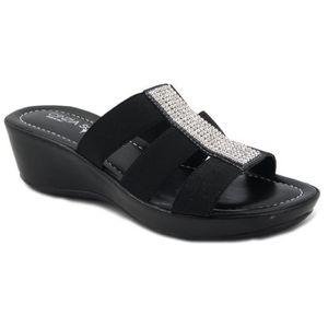 SANDALE - NU-PIEDS CINZIA SOFT Sandal élastique noire avec strass ric