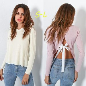 PULL Femmes Pull col V Pull sexy dos nu femmes Jumpers e56d69e84c7c