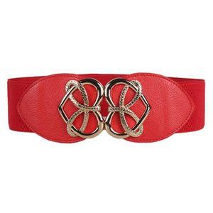 d09db07e41f dedasing® Femme Mode Rétro décoratif élastique ceinture élastique large  ceinture rouge