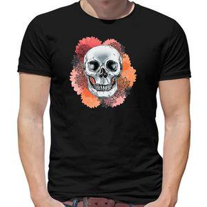 2f82c3ab406f0 T-SHIRT Dressdown - Tête de Mort Fleur - T-Shirt Pour Homm