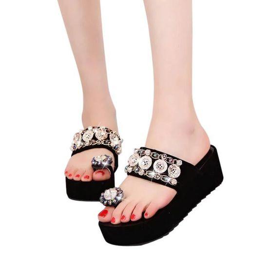 Femmes Mode Toe ronde plate Escarpin Sandales Sandales plates en cristal  Noir Noir Noir - Achat / Vente escarpin
