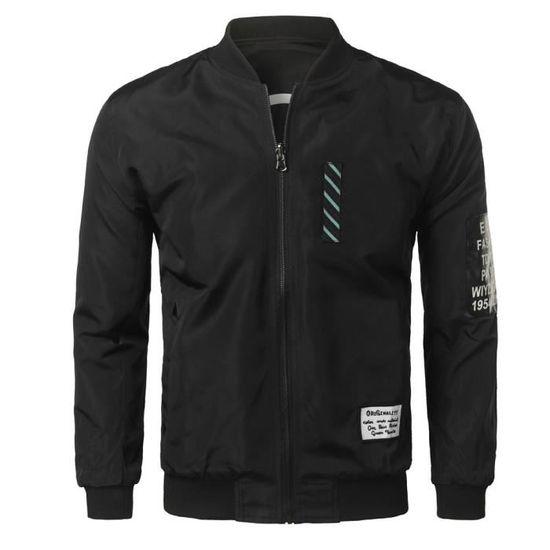 Solide Printemps Hiver Jacket Zipper Automne Casual noir Bomber Slim Hommes Outwear 40gqdw0