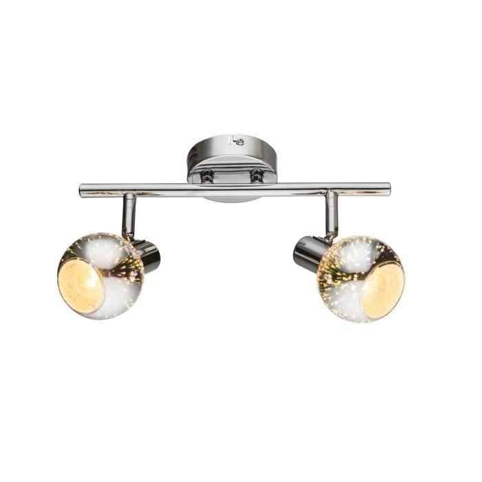 Spot chrome - verre - 370x151 - Ampoule non incluse 2xE14 40W 230VSPOTS - LIGNE DE SPOTS