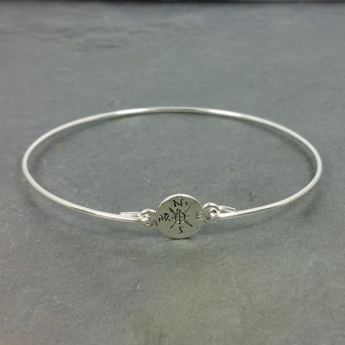 Craze Minuscule Compass Bangle Bracelet - Argent Sterling Rempli