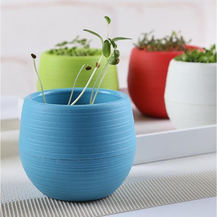 bureau mini jardinière bricolage pot de fleurs bleu - achat