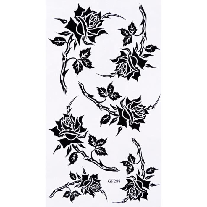 tatouages temporaire rose noir 6 stickers achat vente tatoo bijou de corps tatouages. Black Bedroom Furniture Sets. Home Design Ideas
