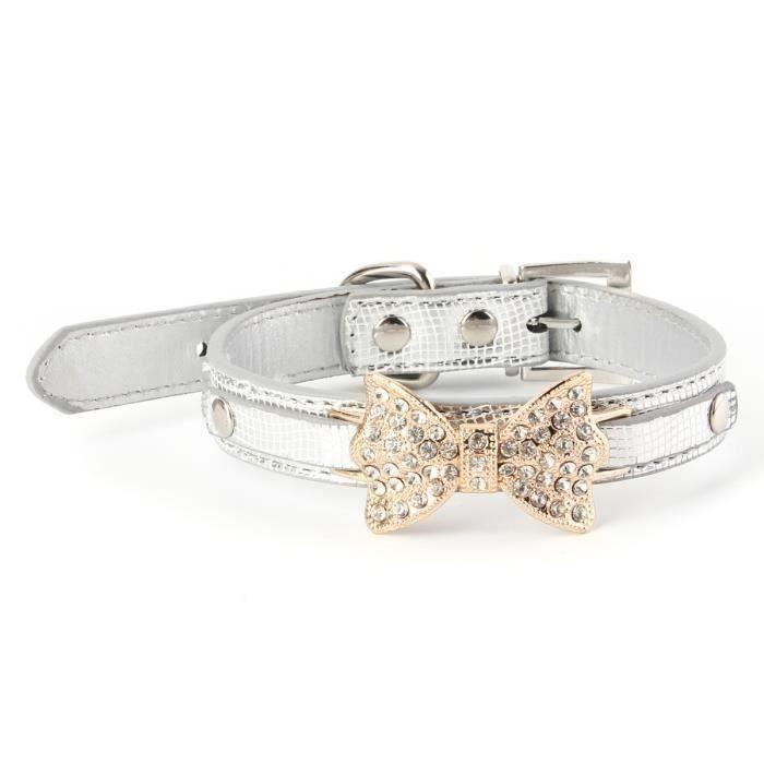 S 37 X 1,5 Cm   Argento Personnalisé Strass Cristal Diamante Bow Bling Chien Chat Collier En Cuir Pu - Jsuelm-a0895