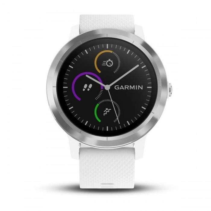 8e05cfd6156 GARMIN Vivoactive 3 Montre connectée avec GPS et Cardio - Argent et  Bracelet blanc