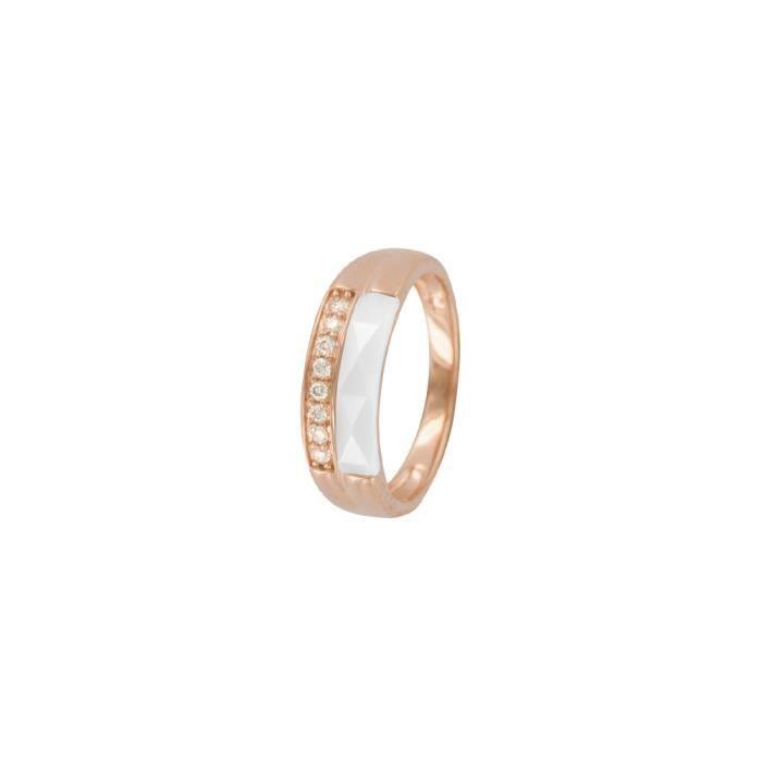 Jouailla - Bague céramiqueargent 925-1000e doréet oxydes de zirconium -