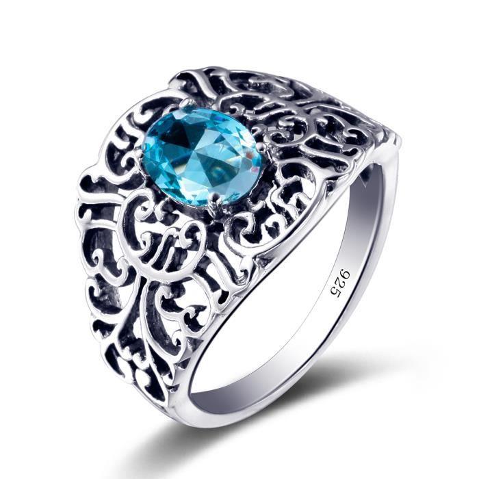 Bague Décoratif 925 Argent Zircone Bleu Sapphire Amour Noble Accessoire Femme
