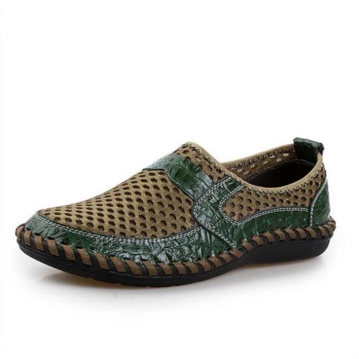 chaussures homme Cuir véritable Travail à la main Luxe 2017 Moccasin Confortable de plein air Respirant Poids Léger Grande Taille Zbu9BDE2w