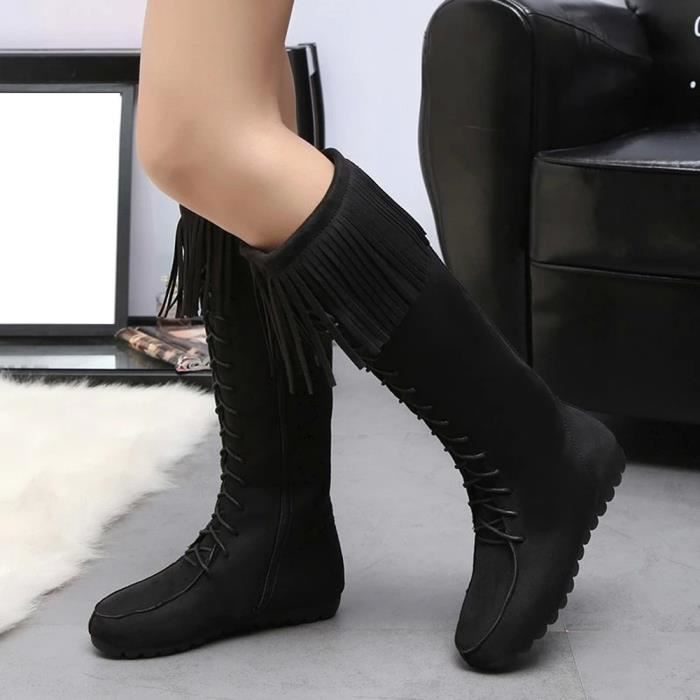 Napoulen®Mode Bottes Tassel armure chaud d'hiver veau mi-mollet pour femme Noir-YLL71102523BK