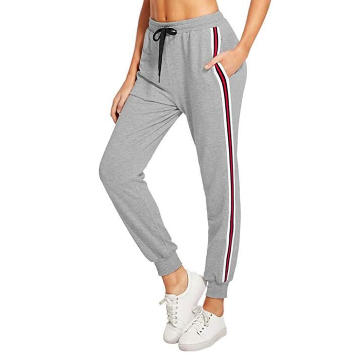 achat authentique acheter pas cher styles divers Minetom Femme Pantalon Survêtement Grand Taille Jogging Yoga Rayures  Pantalon Avoir Poches Taille Haute Pour Sport Harem Pantalon