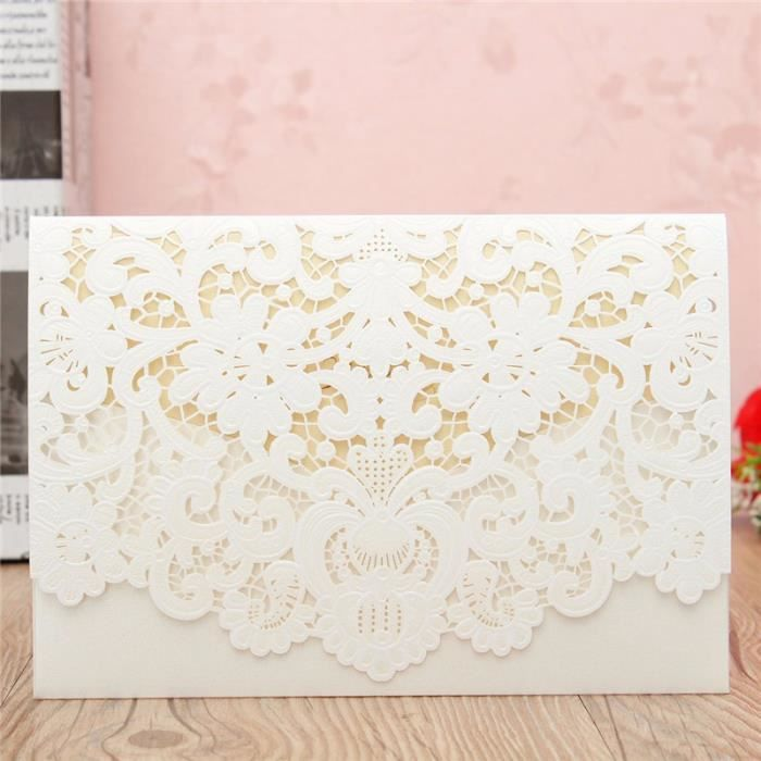 10pcs Mariage Carte Invitation Faire Part Enveloppes Décor