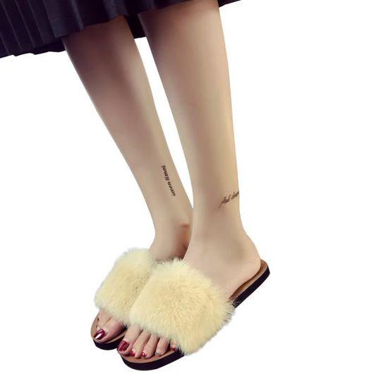 Summer Ladies Femmes Slip On Sliders plat Fluffy en fausse fourrure plat Sliders Slipper Sandal    Beige Beige Beige - Achat / Vente slip-on 11383d