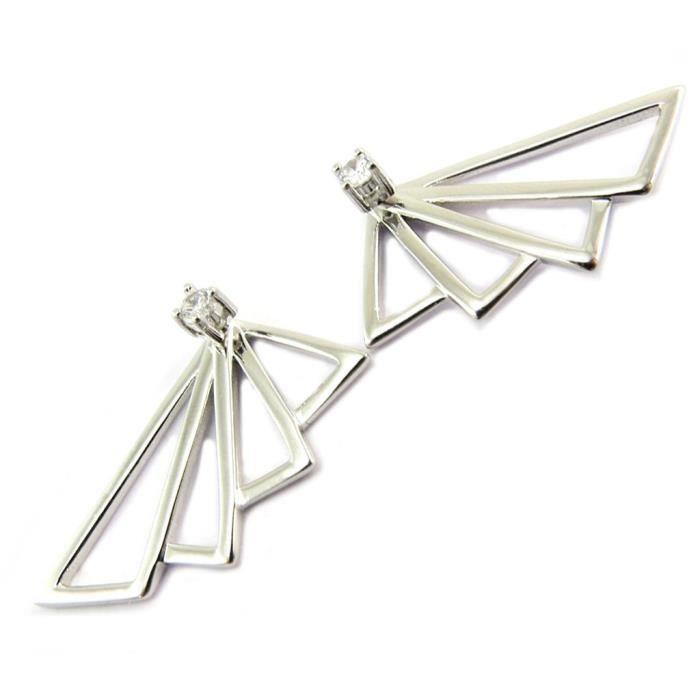 Boucles Argent Origami argenté (éventails) - 30x13 mm [P7025]