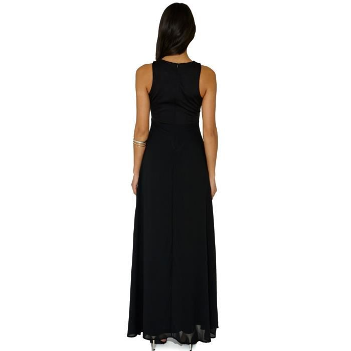 Maxi robe longue Patchworkimprimé géométrique NOIR