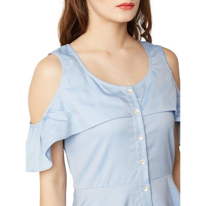 Lumière ronde bleu cou manches froide robe de lépaule de la femme V51MU Taille-34