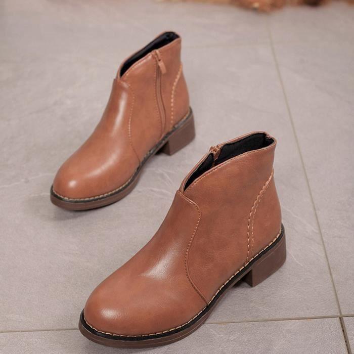 Plein Cuir Bl3295 Toe Bottes Coierbr Ronde Moyen Shoes Épais Mode Martin Zipper femmes wqnx7tEC