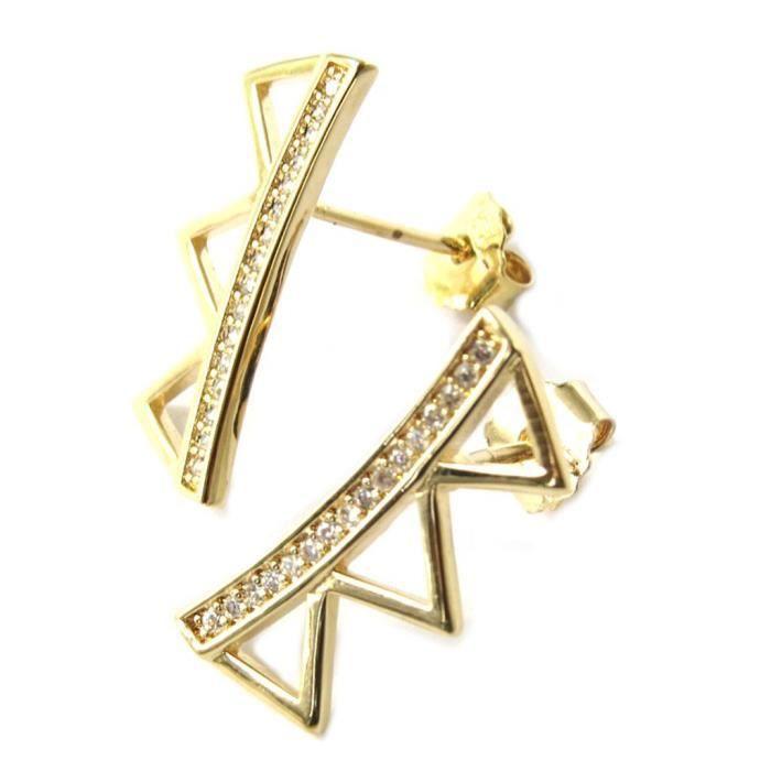 Boucles Plaqué Or Triangles doré blanc... [P1225]
