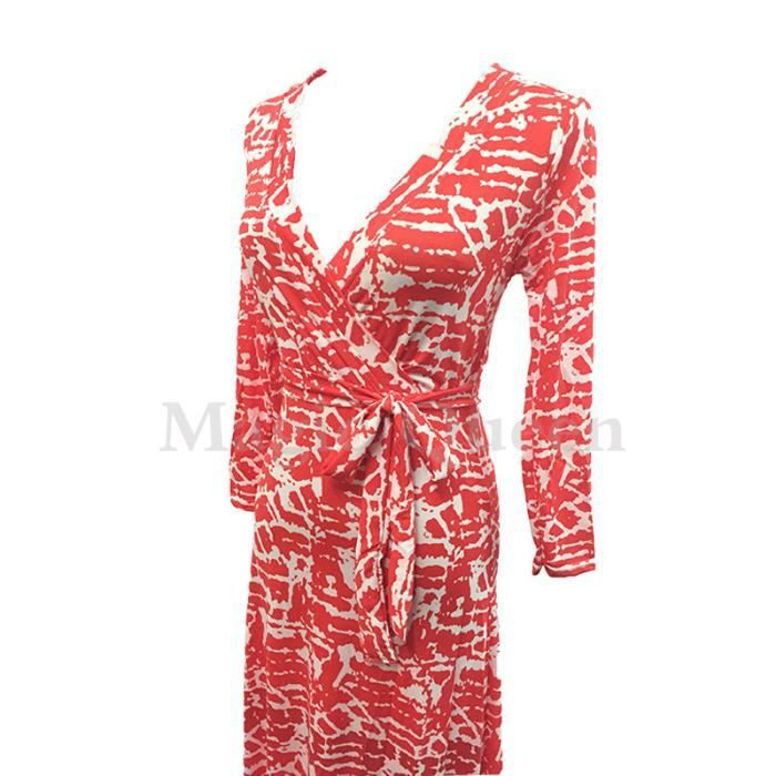 Robe Slim col V imprimée à manches longues robe...