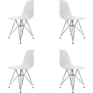 CHAISE PACK 4 CHAISES TOWER CHROME BLANCHES EXTRA QUALITY