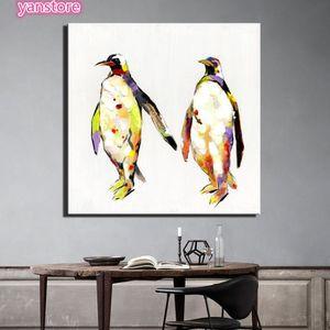 OBJET DÉCORATION MURALE (Avec cadre) Abstrait Art Penguins Antarctiques Mu